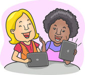Tablet Computer Girls — Stock Photo