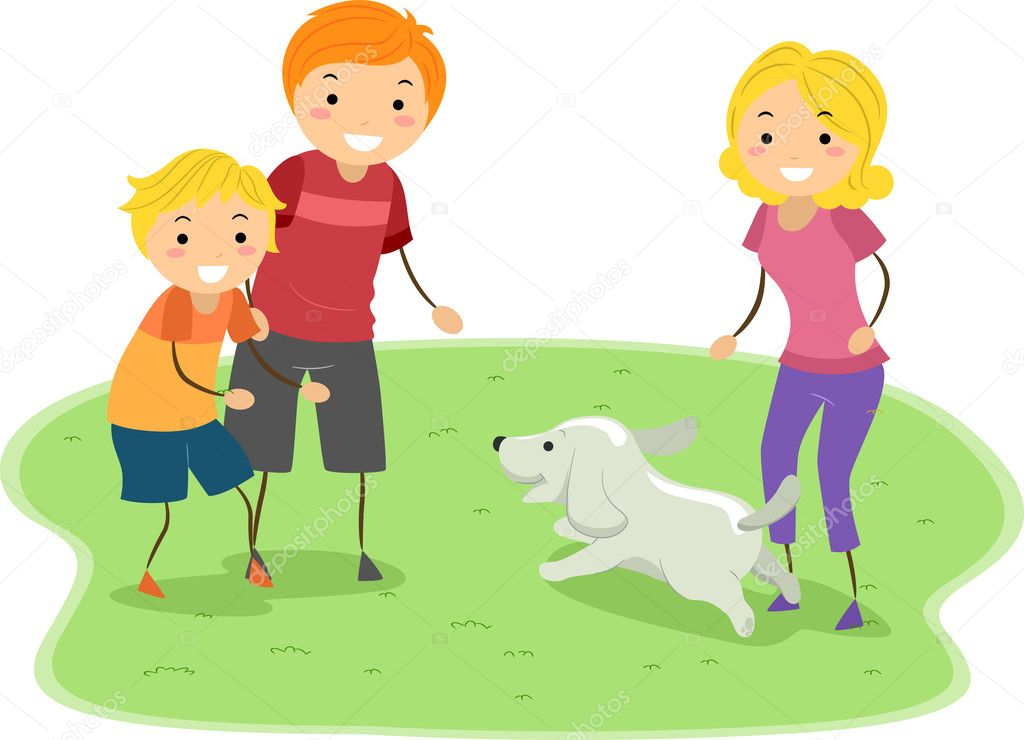 Illustration of a Family Playing with Their Dog — Stock Photo #11128934
