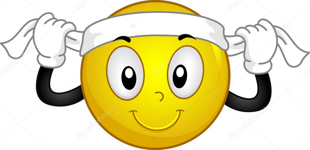 Illustration of a Smiley Putting a Headband on — Stockfoto #11129297