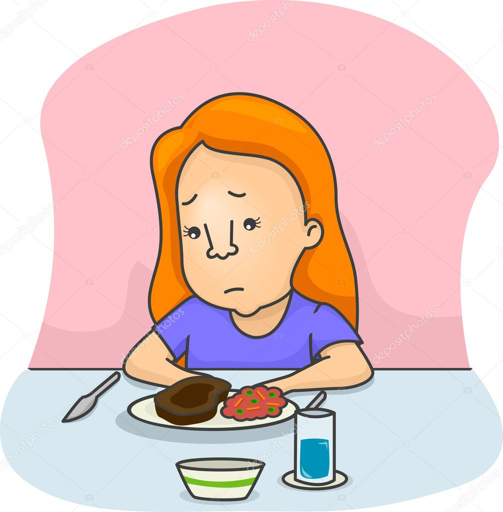 Illustration of a Girl Not in the Mood to Eat — Stock Photo #11129798