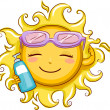 Sun Holding a Sunblock Lotion — Stock Photo