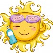 Sun Holding a Sunblock Lotion - Stock Photo