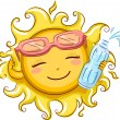 Stock Photo: Sun Holding Bottled Water