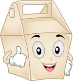 Takeout Box Mascot — Stock Photo