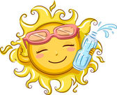 Sun Holding a Bottled Water — Stock Photo