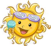 Sun Holding an Ice Cream — Stock Photo