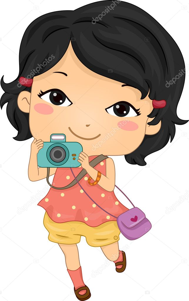 Illustration Featuring an Asian Tourist Holding a Camera  Stock Photo #11570307
