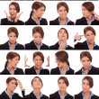 Emotional collage of a businesswoman's faces — Stock Photo