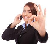 业务电话和 ok 手势的女人 — 图库照片