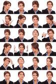 Colagem emocional de faces de uma mulher de negócios — Foto Stock
