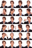 Emotional collage of a businesswoman's faces — Foto Stock