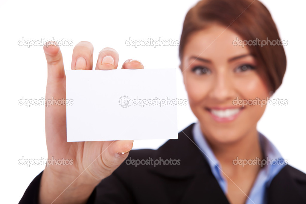 Closeup image  of a young business woman holding her visiting card on white background — Stock Photo #11068706