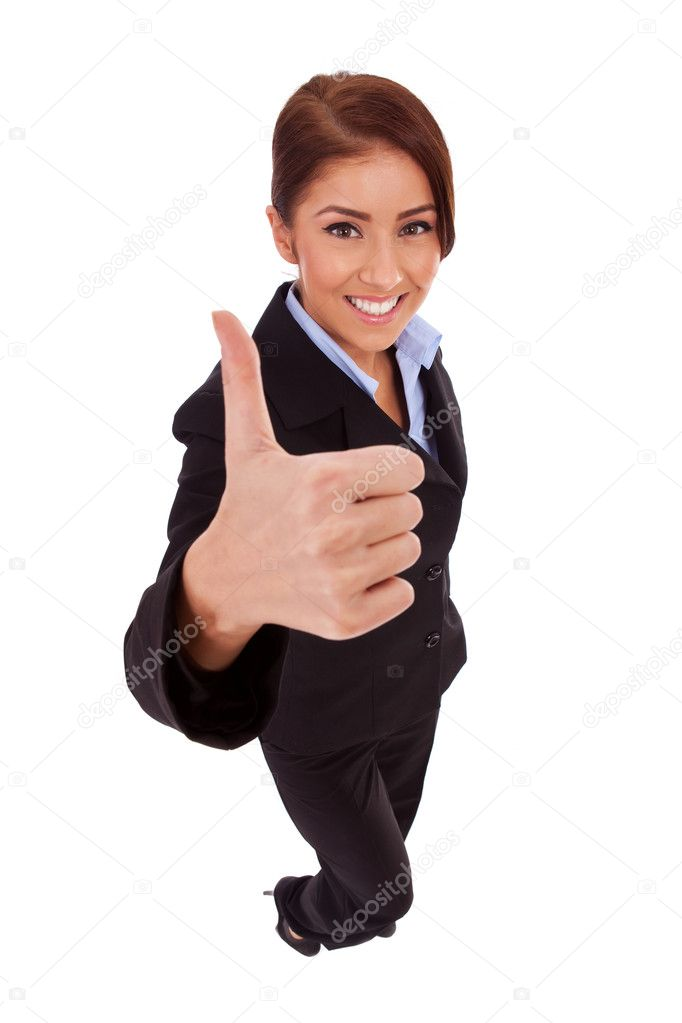 Successful business woman isolated giving thumbs up sign. Business woman in high and wide angle view — Foto Stock #11068790