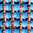Many business man facial expressions - Stock Photo