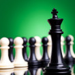 Black king standing in front of all the pawns — Stock Photo #11377916