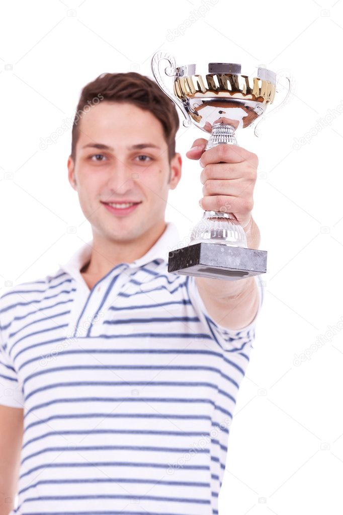 Young man winning the first place trophy at a competition, on white background — Stock Photo #11377804