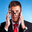 Foto Stock: Young business mwith nerd glasses