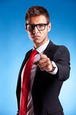 Acusing young business man — Stock Photo
