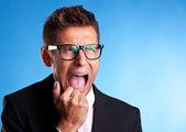 Rozzlobený podnikatel křik — Stock fotografie