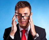 Young business man with a nerd glasses — Stock Photo