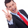 Victory gesturing business man — Stock Photo #11918786