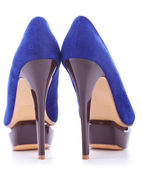 Blue fashion high heeled woman shoes — Stock Photo