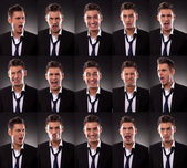 Arrangement of many funny faces — Stock Photo