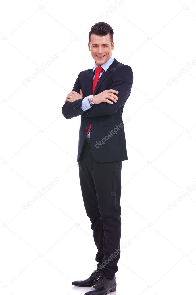 Young business man full body isolated on white background — Stock Photo #11918790