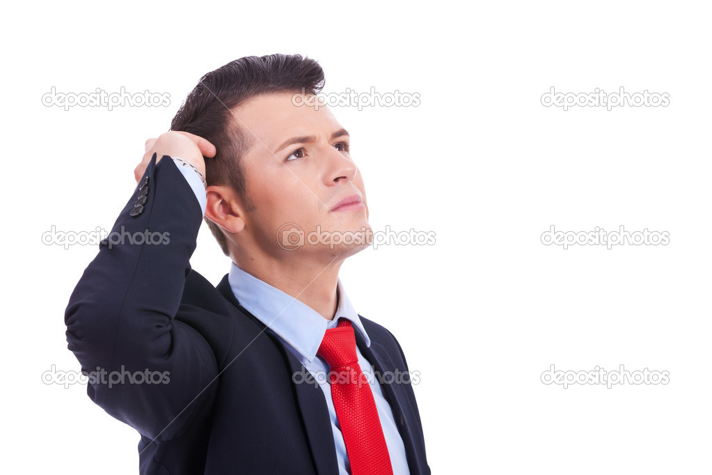 Portrait of handsome young thoughtful business man isolated over white background — Stock Photo #11918815