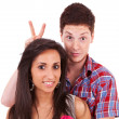 Nice young couple fooling around — Stock Photo