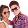 Beautiful casual couple smiling — Stock Photo
