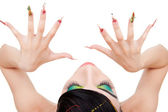 Top-view of a young woman model showing nails — Stock Photo