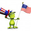 Cute cartoon monster holding an American flag and hat. — Stock Photo
