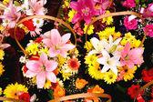 Корзины с красочные букеты — Стоковое фото