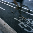 Cyclist on urban cyceway - Stock Photo