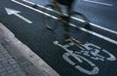 Cyclist on urban cyceway — Stock Photo