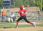 Little league baseball pitcher — Stockfoto