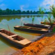 Landscape painting showing boats on the river on sunny summer day — Stock Photo