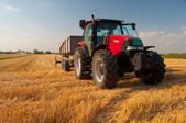 Modern red tractor on the agricultural field on sunny summer day — ストック写真