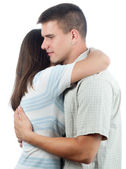 Man consoling his girlfriend isolated on white — Stock Photo