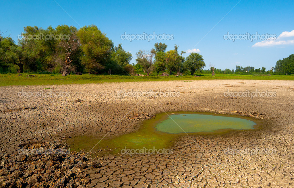 Polluted water and cracked soil of dried out lake during drought — Stock Photo #11587831