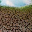 Royalty-Free Stock Photo: Polluted water and cracked soil of dried out lake during drought