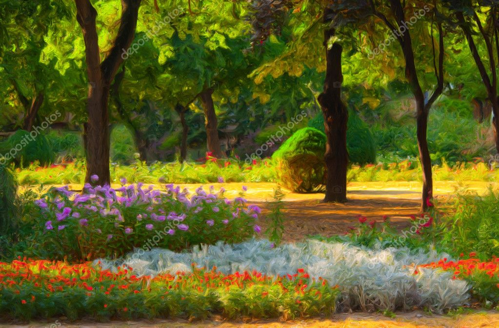 Landscape painting showing blooming of flowers in park in spring — Stock Photo #11836851