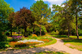 Landscape painting showing beautiful park on sunny summer day — Stock Photo