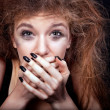 Frightened teenage girl — Stock Photo