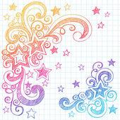 Stars Sketchy Doodles Back to School Vector Illustration — Stock Vector