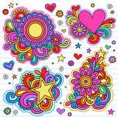 Paix et amour doodles groovy psychédéliques vector dessins — Vecteur