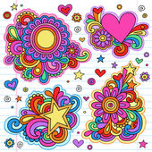 Peace and Love Psychedelic Groovy Doodles Vector Designs — Vecteur