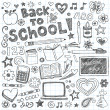 Back to School Sketchy Doodles Vector Design Elements — Stock Vector