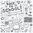 Back to School Sketchy Doodles Vector Design Elements - Stock Vector